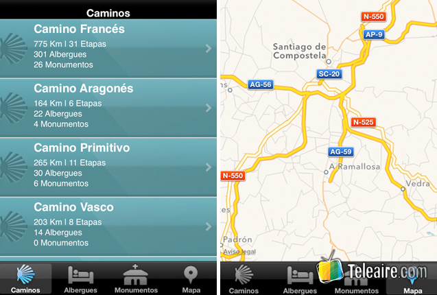 Screencaps de la App Camino