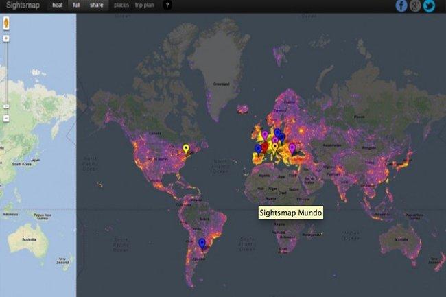 existe un mapa de los destinos más fotografiados del mundo?