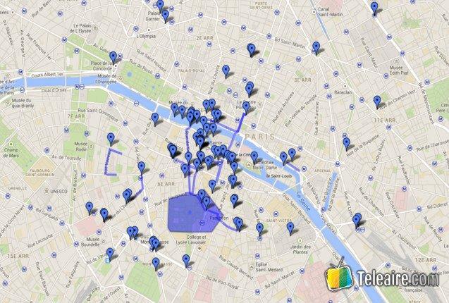 Mapa de los escenarios de París en Rayuela