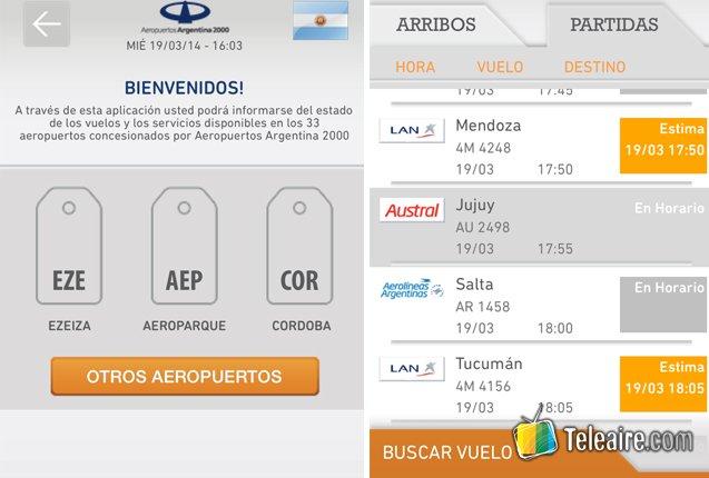 Capturas de la App Aeropuertos Argentina 2000