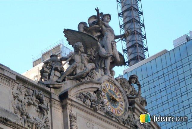 Angeles tallados en la fachada de la Gran Central Terminal