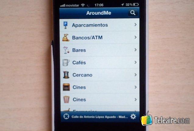 Aplicacion Around Me en un smartphone