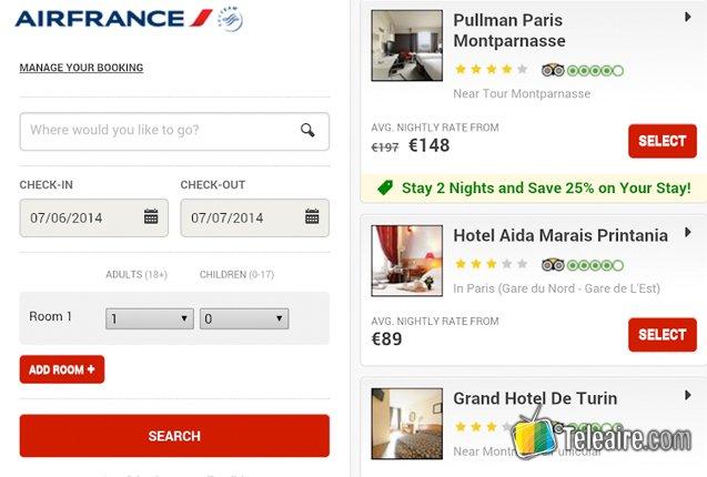 Reservar hoteles a través de Air France App