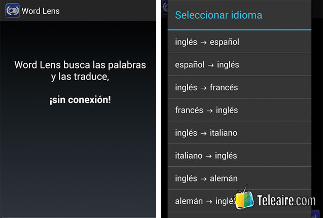 captura de la app Word Lens