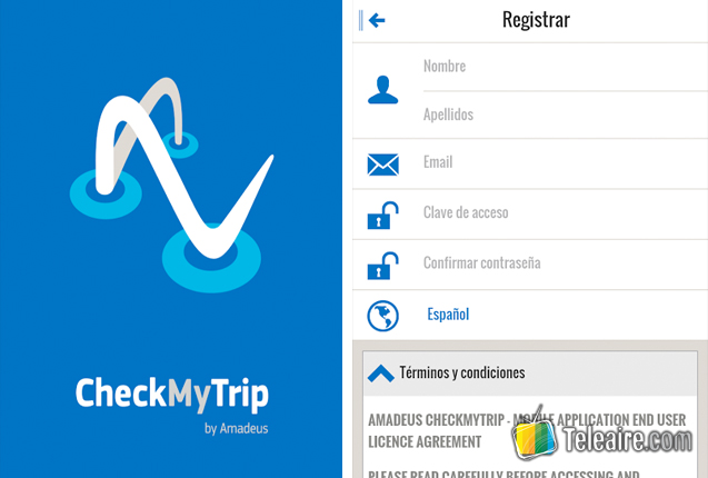 captura de pantalla de la aplicación CheckMyTrip