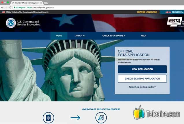 Sitio web ESTA EEUU