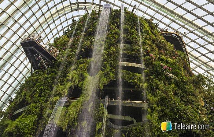 Cascada del Gardens by the Bay en Singapur