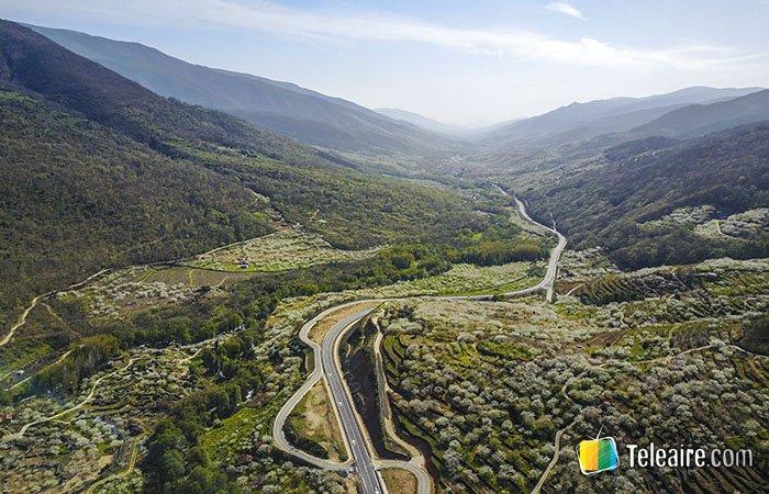 Panorámica aérea del Valle del Jerte