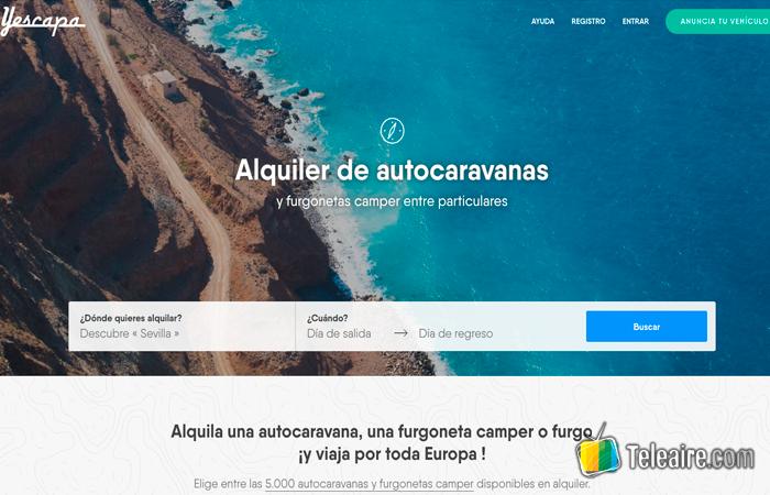 Web Yescapa - Aquiler de autocaravanas
