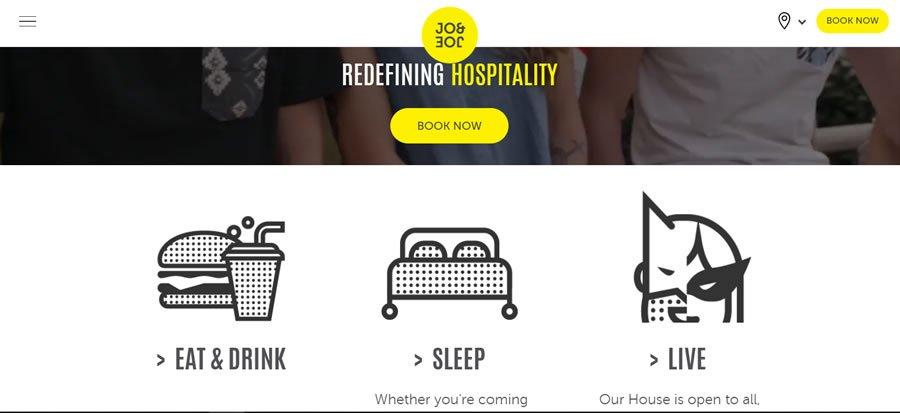 Jo and Joe es una variante entre hotel y hostel con lugares de intercambio social