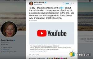 Mensaje de la CEO de YouTube sobre el artículo 13 de la Comunidad Europea
