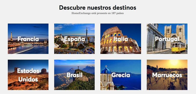 Intercambio de casas en 187 destinos