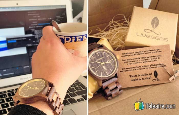 Relojes ecológicos de madera en la redacción de Teleaire